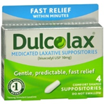 Dulcolax Medicated Laxative 4 Comfort Shaped Suppositories