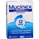 MUCINEX RELIEVES CHEST CONGESTION 20 TABLETS