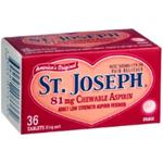 St. Joseph Low Dose Aspirin (81 mg) Chewable 36 tablets