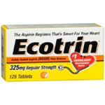 Ecotrin 325mg Pain Reliever 125 Tablets