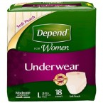 Depend For Women Underwear Moderate Absorbency Soft Peach Large
