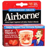 Airborne Immune Support Supplement Very Berry Effervescent Tablets 10 count