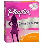 Playtex Gentle Glide 360  Supler Plus Plastic Tampons (18 Ct.)